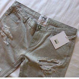 One Teaspoon Jeans - One Teaspoon Ice Grey Awesome Baggies